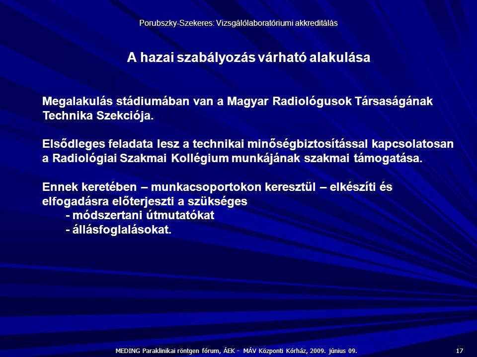 17 MEDING Paraklinikai röntgen fórum, ÁEK - MÁV Központi Kórház, 2009. június 09. Porubszky-Szekeres: Vizsgálólaboratóriumi akkreditálás A hazai szabá