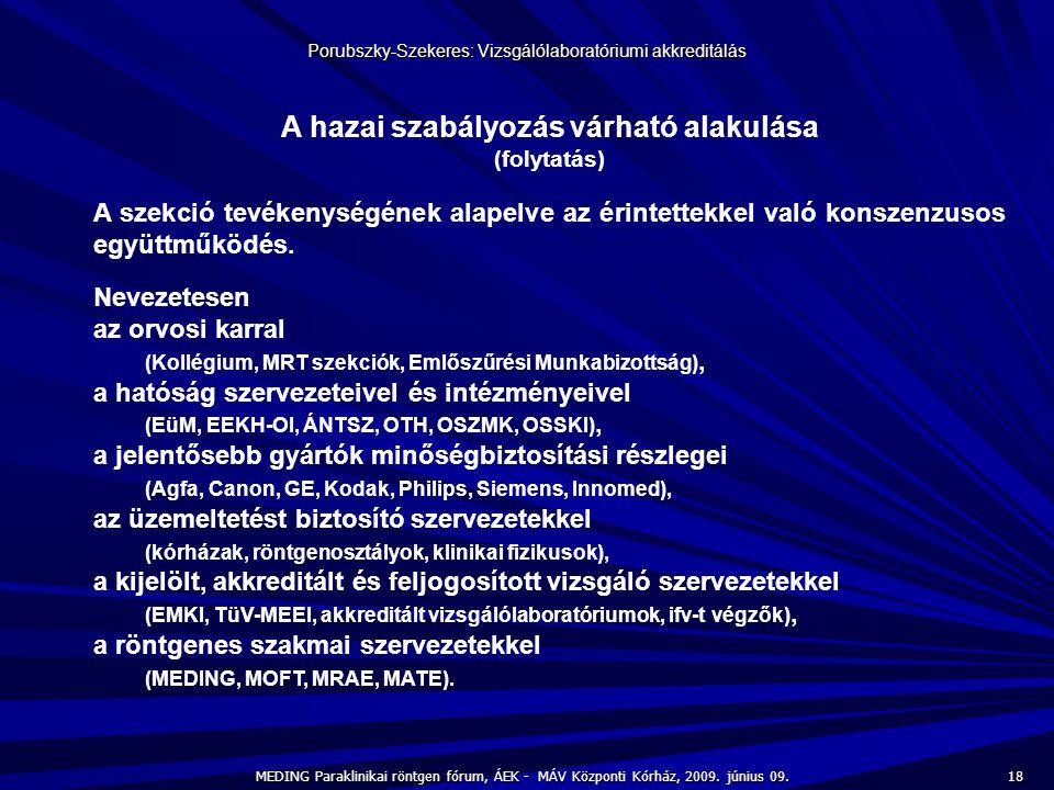 18 MEDING Paraklinikai röntgen fórum, ÁEK - MÁV Központi Kórház, 2009. június 09. Porubszky-Szekeres: Vizsgálólaboratóriumi akkreditálás A hazai szabá