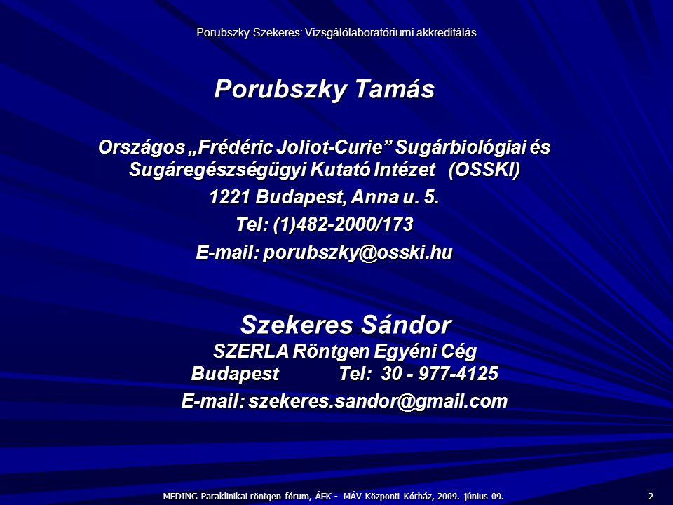 """Porubszky Tamás Országos """"Frédéric Joliot-Curie"""" Sugárbiológiai és Sugáregészségügyi Kutató Intézet (OSSKI) 1221 Budapest, Anna u. 5. Tel: (1)482-2000"""