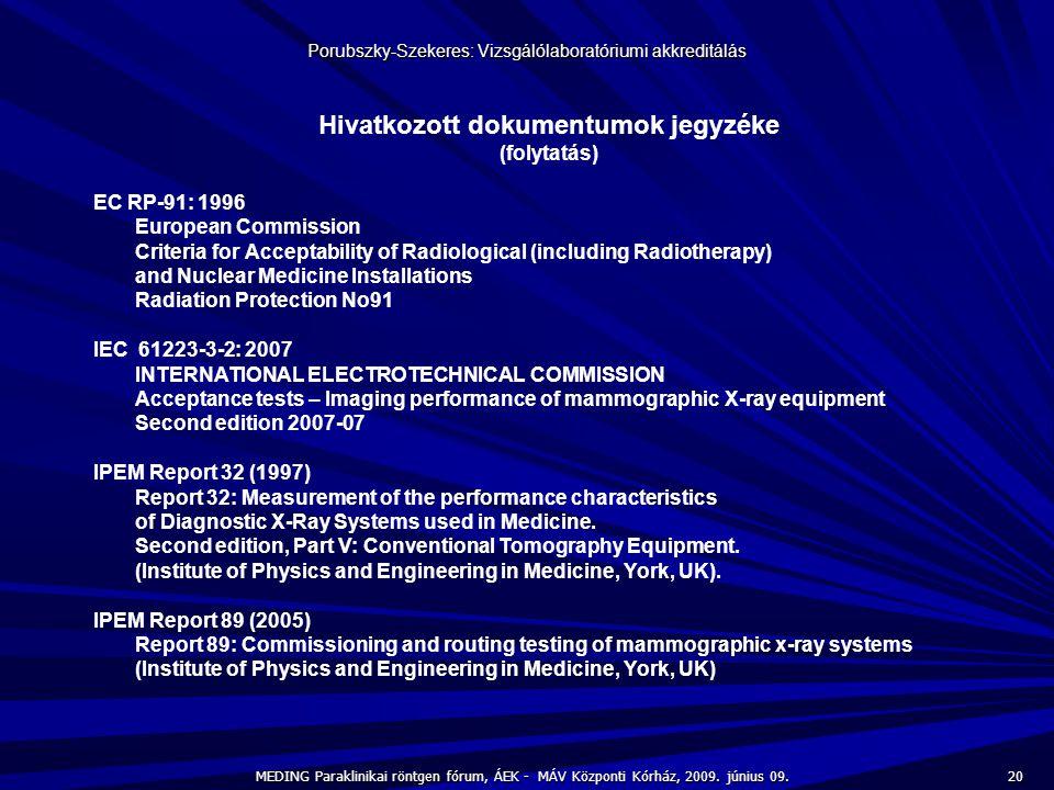 20 MEDING Paraklinikai röntgen fórum, ÁEK - MÁV Központi Kórház, 2009. június 09. Porubszky-Szekeres: Vizsgálólaboratóriumi akkreditálás Hivatkozott d