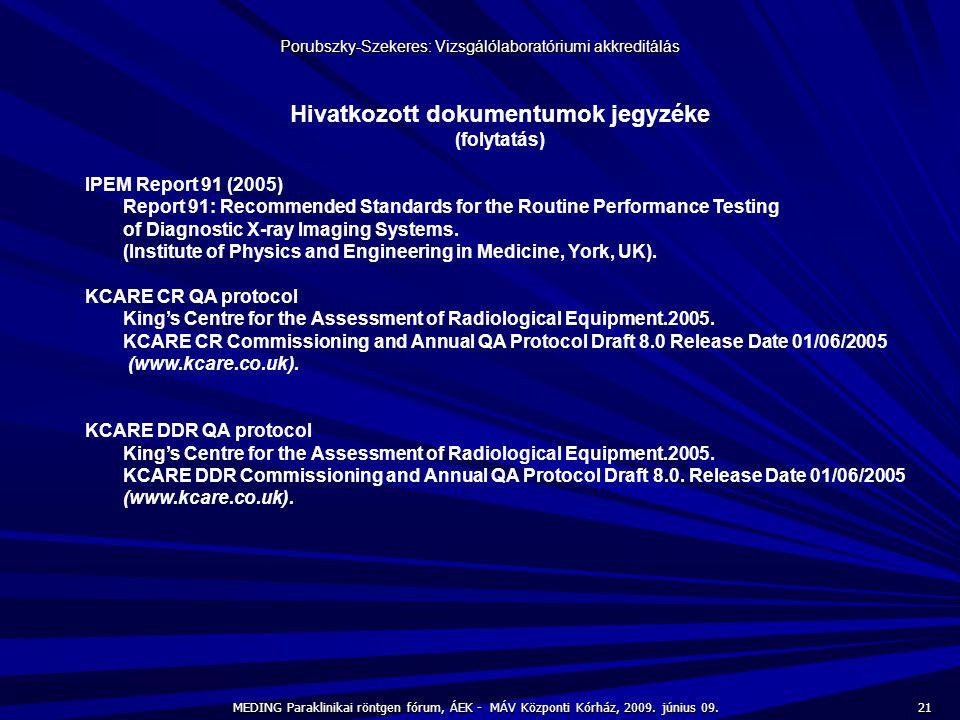 21 MEDING Paraklinikai röntgen fórum, ÁEK - MÁV Központi Kórház, 2009. június 09. Porubszky-Szekeres: Vizsgálólaboratóriumi akkreditálás Hivatkozott d