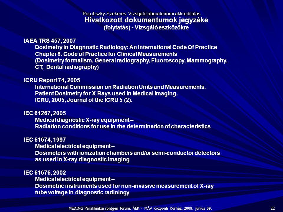 22 MEDING Paraklinikai röntgen fórum, ÁEK - MÁV Központi Kórház, 2009. június 09. Porubszky-Szekeres: Vizsgálólaboratóriumi akkreditálás Hivatkozott d