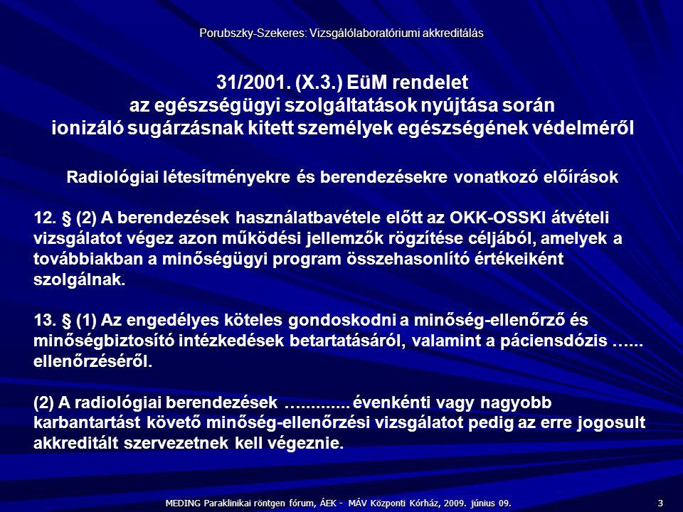 3 MEDING Paraklinikai röntgen fórum, ÁEK - MÁV Központi Kórház, 2009. június 09. Porubszky-Szekeres: Vizsgálólaboratóriumi akkreditálás 31/2001. (X.3.