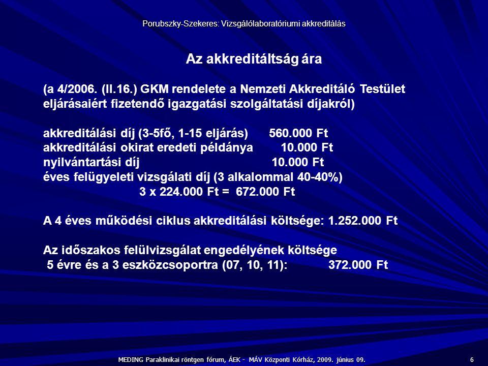 6 MEDING Paraklinikai röntgen fórum, ÁEK - MÁV Központi Kórház, 2009. június 09. Porubszky-Szekeres: Vizsgálólaboratóriumi akkreditálás Az akkreditált