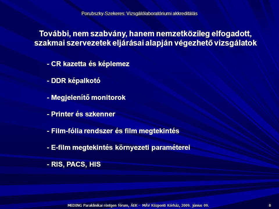 8 MEDING Paraklinikai röntgen fórum, ÁEK - MÁV Központi Kórház, 2009. június 09. Porubszky-Szekeres: Vizsgálólaboratóriumi akkreditálás További, nem s