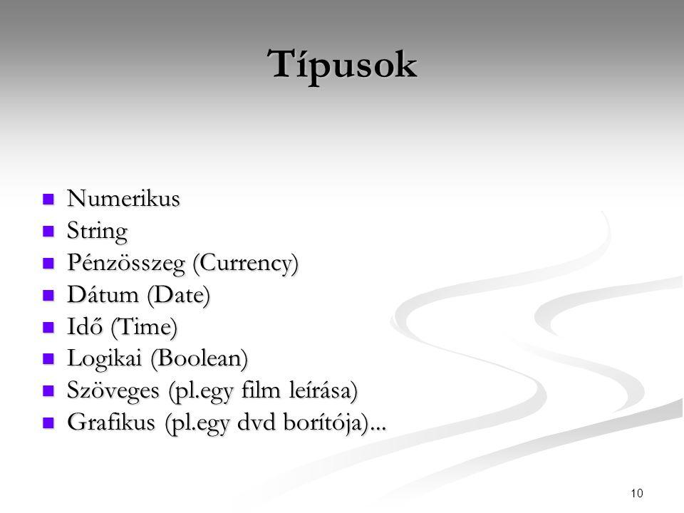 10 Típusok  Numerikus  String  Pénzösszeg (Currency)  Dátum (Date)  Idő (Time)  Logikai (Boolean)  Szöveges (pl.egy film leírása)  Grafikus (pl.egy dvd borítója)...