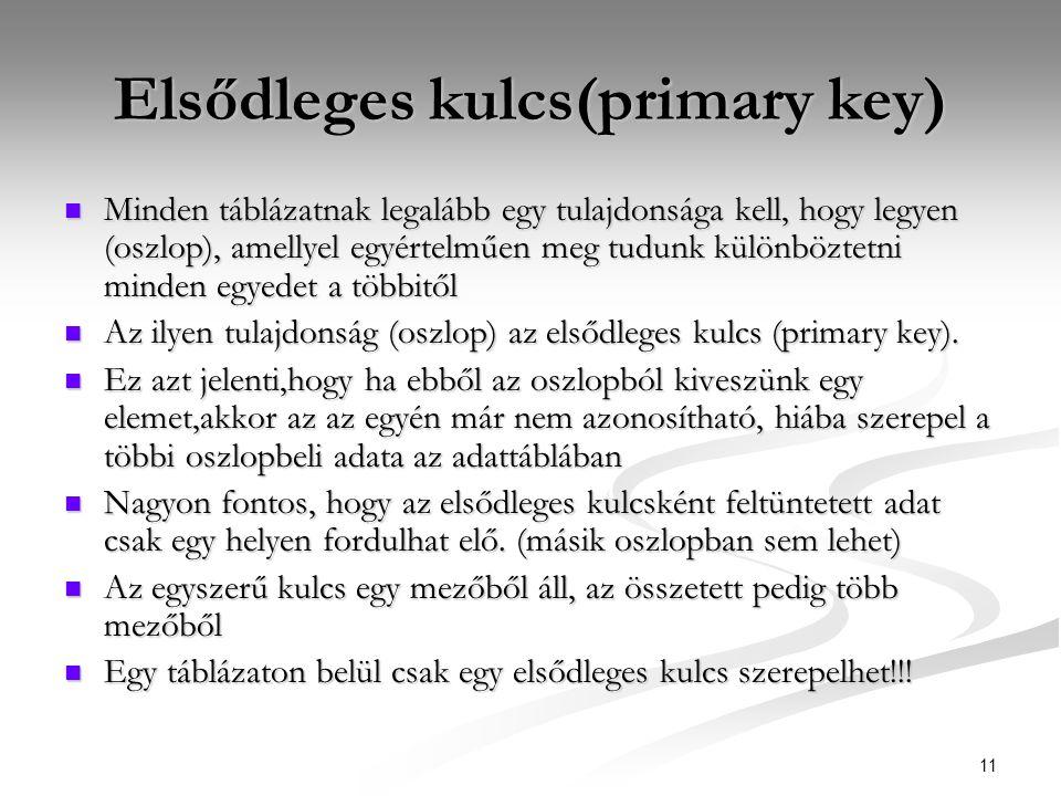 11 Elsődleges kulcs(primary key)  Minden táblázatnak legalább egy tulajdonsága kell, hogy legyen (oszlop), amellyel egyértelműen meg tudunk különböztetni minden egyedet a többitől  Az ilyen tulajdonság (oszlop) az elsődleges kulcs (primary key).