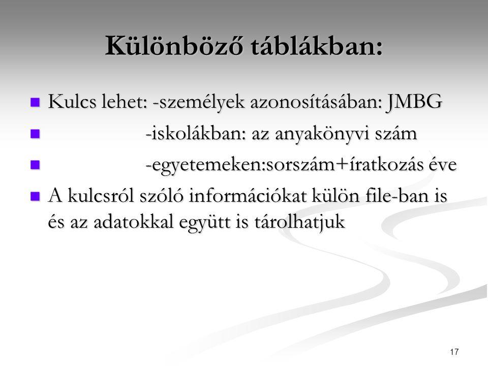 17 Különböző táblákban:  Kulcs lehet: -személyek azonosításában: JMBG  -iskolákban: az anyakönyvi szám  -egyetemeken:sorszám+íratkozás éve  A kulcsról szóló információkat külön file-ban is és az adatokkal együtt is tárolhatjuk