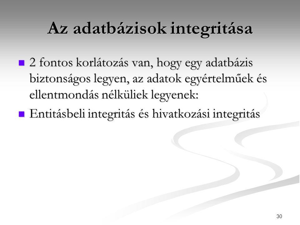30 Az adatbázisok integritása  2 fontos korlátozás van, hogy egy adatbázis biztonságos legyen, az adatok egyértelműek és ellentmondás nélküliek legyenek:  Entitásbeli integritás és hivatkozási integritás