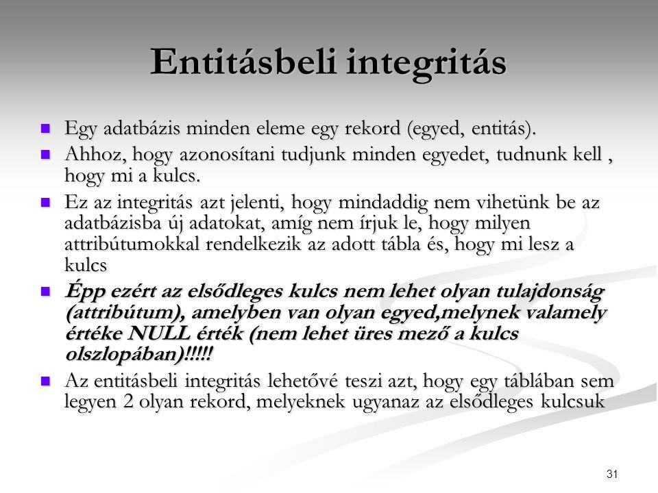 31 Entitásbeli integritás  Egy adatbázis minden eleme egy rekord (egyed, entitás).  Ahhoz, hogy azonosítani tudjunk minden egyedet, tudnunk kell, ho