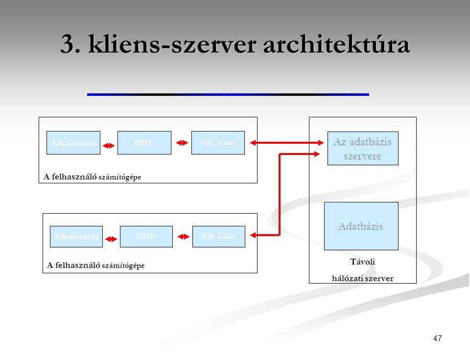 3. kliens-szerver architektúra 47 AlkalmazásBDE SQL -Links A felhasználó számítógépe AlkalmazásBDE SQL-Links A felhasználó számítógépe Adatbázis Távol
