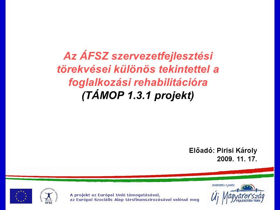 A projekt az Európai Unió támogatásával, az Európai Szociális Alap társfinanszírozásával valósul meg TÁMOP 1.3.1 (2009-2010) •Szolgáltatás-fejlesztés – 11 aplrojekt (Komplex rehabilitációhoz kapcsolódó fejlesztések 3 alprojekt) •Informatikai fejlesztés - 6 alprojekt •Stratégiai irányítás és regionális tervezés támogatása - 6 alprojekt