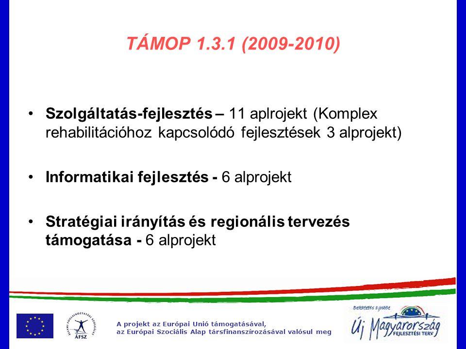 A projekt az Európai Unió támogatásával, az Európai Szociális Alap társfinanszírozásával valósul meg TÁMOP 1.3.1 Szolgáltatásfejlesztés •Projekt vége: 2011.
