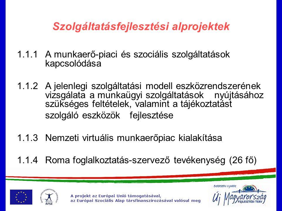 A projekt az Európai Unió támogatásával, az Európai Szociális Alap társfinanszírozásával valósul meg Szolgáltatásfejlesztési alprojektek 1.2.1Megváltozott munkaképességű ügyfelekkel való bánásmód fejlesztése, ÁFSZ dolgozói szemléletváltás lehetőségének megteremtése 1.2.2Megváltozott munkaképességű ügyfelek részére szolgáltatások fejlesztése, továbbfejlesztése, kiemelten a rehabilitációs járadékban részesülő személyek körére, valamint a stratégiai együttműködési formák kialakítása és működtetése 1.2.3 Kommunikációs akadálymentesítés