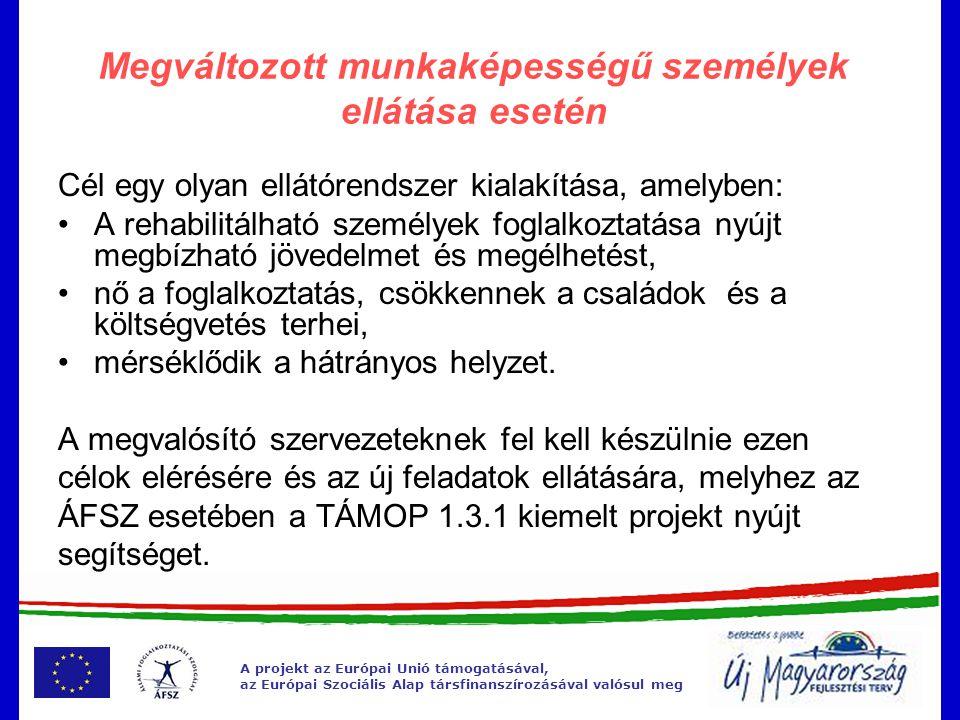 A projekt az Európai Unió támogatásával, az Európai Szociális Alap társfinanszírozásával valósul meg Megváltozott munkaképességű személyek ellátása esetén Cél egy olyan ellátórendszer kialakítása, amelyben: •A rehabilitálható személyek foglalkoztatása nyújt megbízható jövedelmet és megélhetést, •nő a foglalkoztatás, csökkennek a családok és a költségvetés terhei, •mérséklődik a hátrányos helyzet.