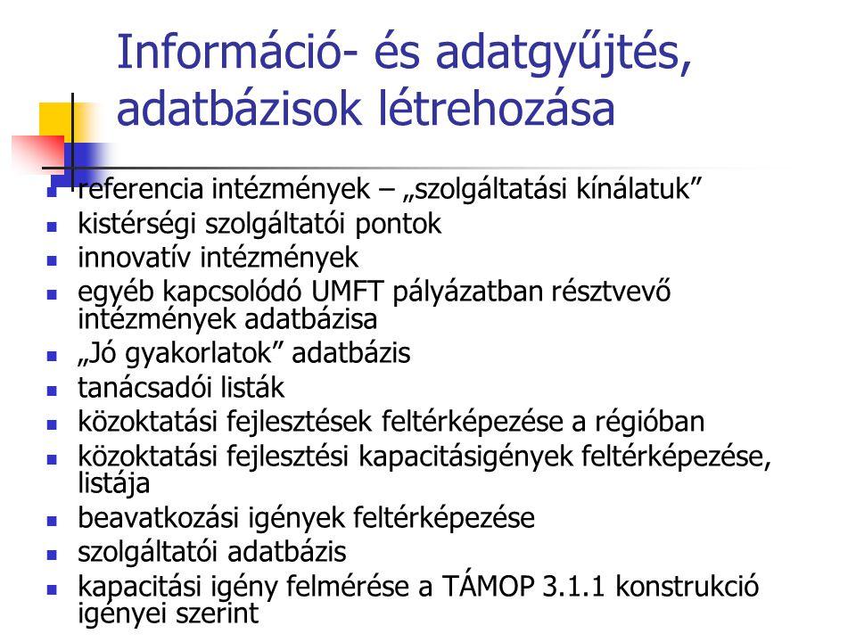 """Információ- és adatgyűjtés, adatbázisok létrehozása  referencia intézmények – """"szolgáltatási kínálatuk  kistérségi szolgáltatói pontok  innovatív intézmények  egyéb kapcsolódó UMFT pályázatban résztvevő intézmények adatbázisa  """"Jó gyakorlatok adatbázis  tanácsadói listák  közoktatási fejlesztések feltérképezése a régióban  közoktatási fejlesztési kapacitásigények feltérképezése, listája  beavatkozási igények feltérképezése  szolgáltatói adatbázis  kapacitási igény felmérése a TÁMOP 3.1.1 konstrukció igényei szerint"""