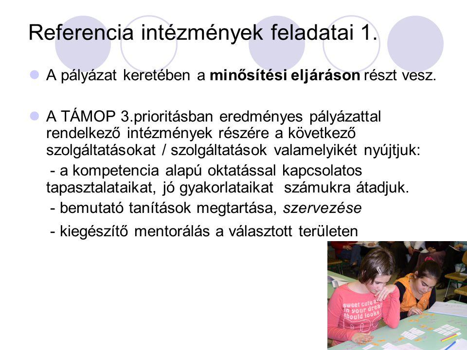 Referencia intézmények feladatai 1.  A pályázat keretében a minősítési eljáráson részt vesz.  A TÁMOP 3.prioritásban eredményes pályázattal rendelke
