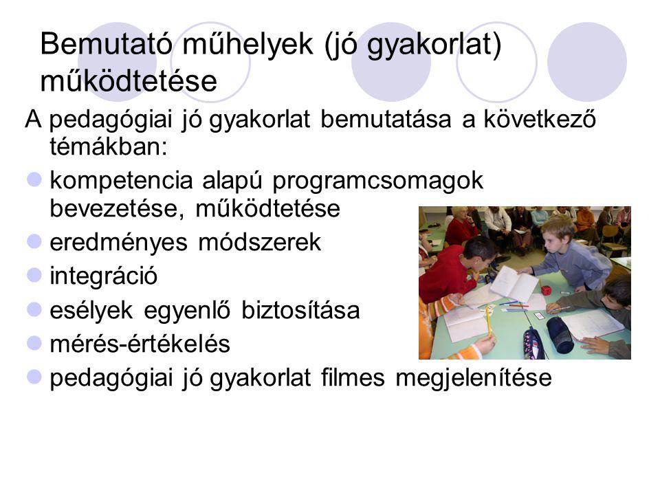 Bemutató műhelyek (jó gyakorlat) működtetése A pedagógiai jó gyakorlat bemutatása a következő témákban:  kompetencia alapú programcsomagok bevezetése