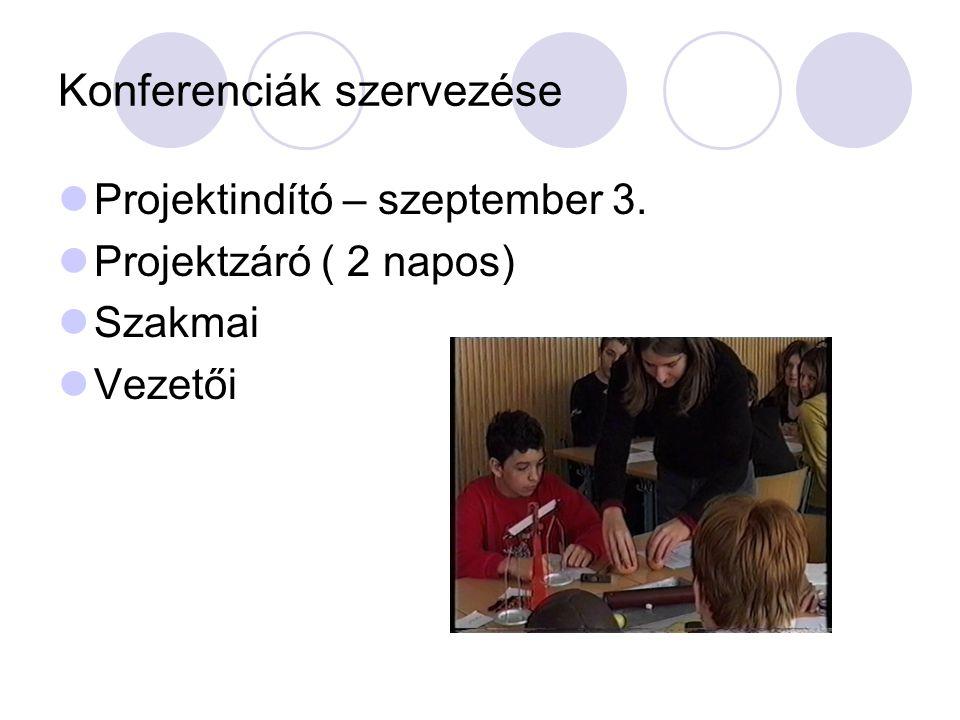 Konferenciák szervezése  Projektindító – szeptember 3.  Projektzáró ( 2 napos)  Szakmai  Vezetői
