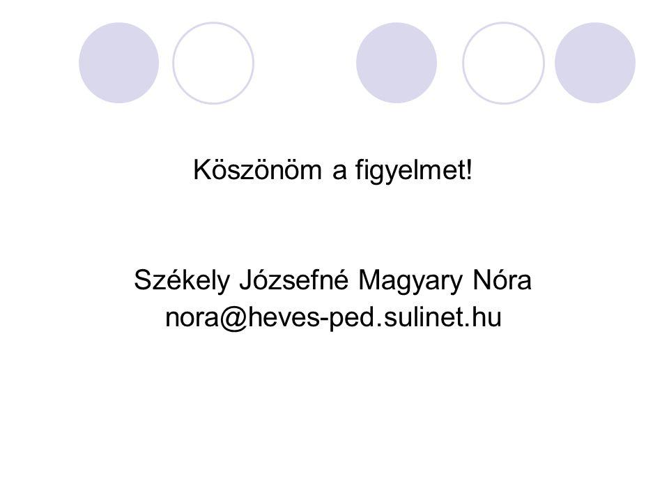 Köszönöm a figyelmet! Székely Józsefné Magyary Nóra nora@heves-ped.sulinet.hu