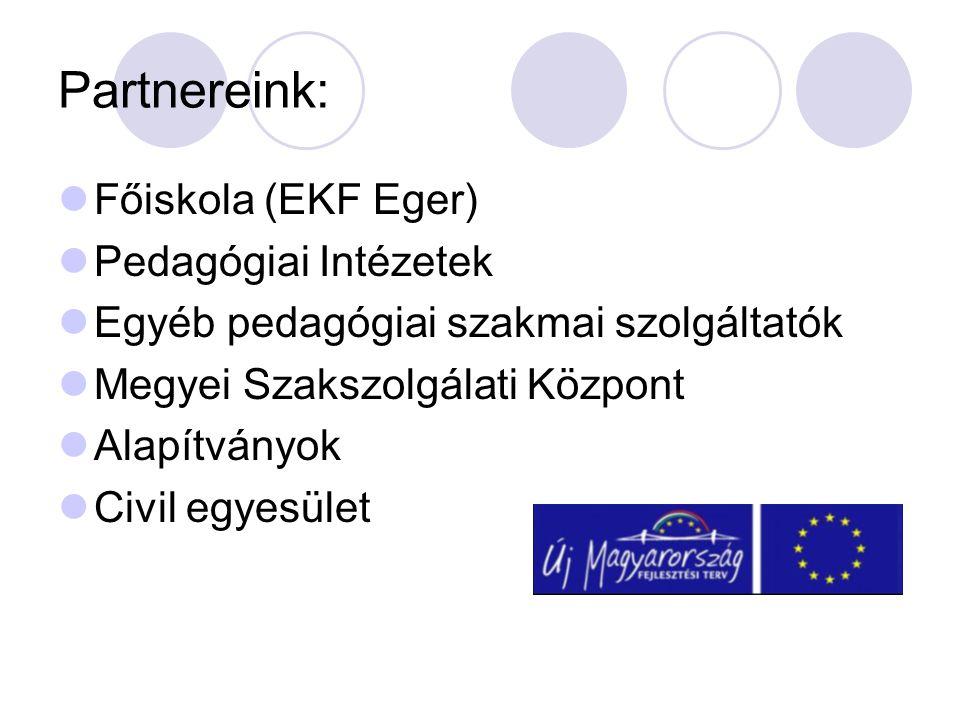Partnereink:  Főiskola (EKF Eger)  Pedagógiai Intézetek  Egyéb pedagógiai szakmai szolgáltatók  Megyei Szakszolgálati Központ  Alapítványok  Civil egyesület