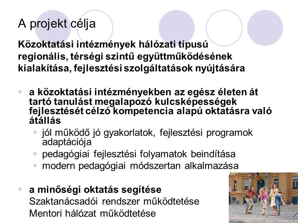 A projekt célja Közoktatási intézmények hálózati típusú regionális, térségi szintű együttműködésének kialakítása, fejlesztési szolgáltatások nyújtásár