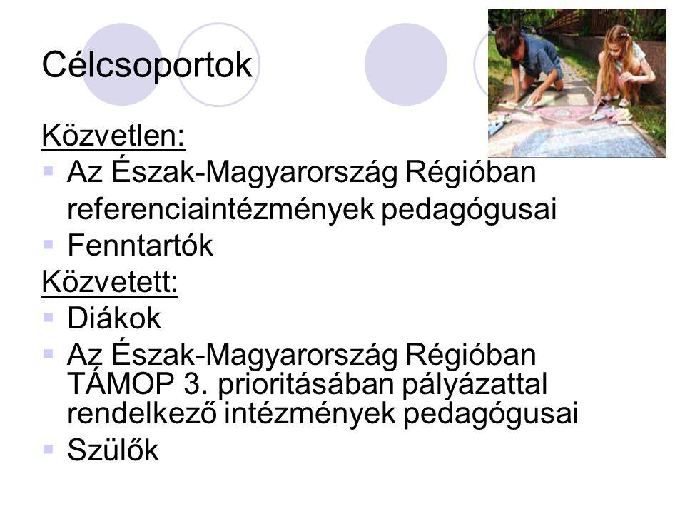 Célcsoportok Közvetlen:  Az Észak-Magyarország Régióban referenciaintézmények pedagógusai  Fenntartók Közvetett:  Diákok  Az Észak-Magyarország Régióban TÁMOP 3.