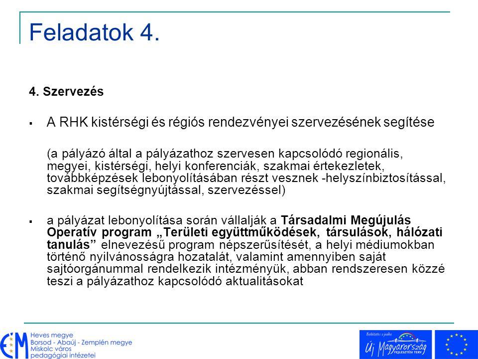 Feladatok 4. 4. Szervezés  A RHK kistérségi és régiós rendezvényei szervezésének segítése (a pályázó által a pályázathoz szervesen kapcsolódó regioná