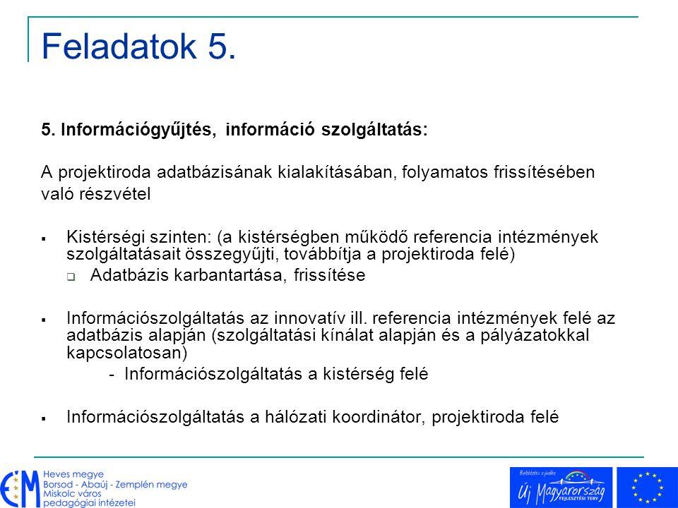 Feladatok 5. 5. Információgyűjtés, információ szolgáltatás: A projektiroda adatbázisának kialakításában, folyamatos frissítésében való részvétel  Kis