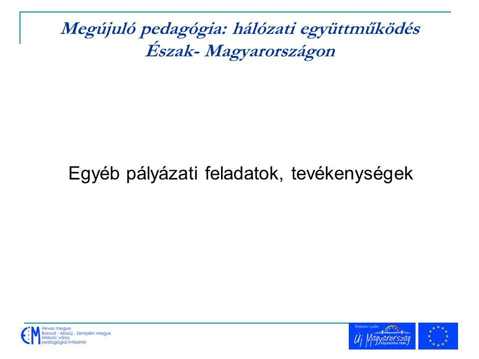 Megújuló pedagógia: hálózati együttműködés Észak- Magyarországon Egyéb pályázati feladatok, tevékenységek