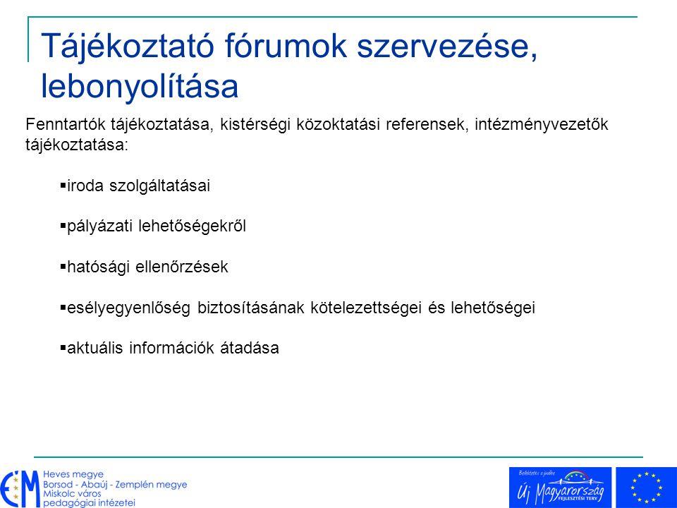 Tájékoztató fórumok szervezése, lebonyolítása Fenntartók tájékoztatása, kistérségi közoktatási referensek, intézményvezetők tájékoztatása:  iroda szo
