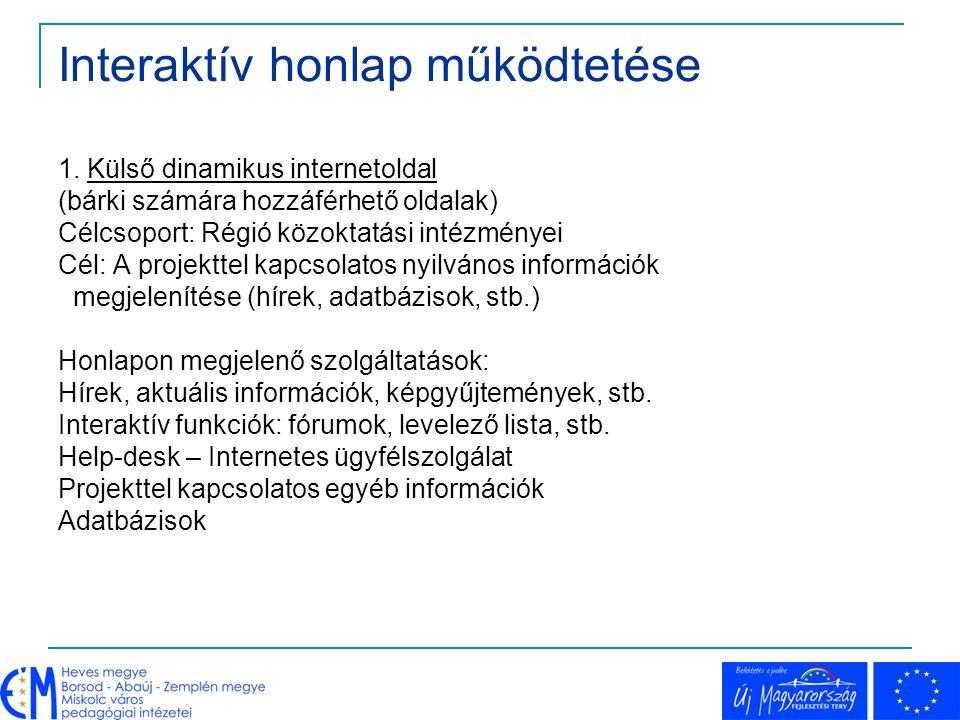 Interaktív honlap működtetése 1. Külső dinamikus internetoldal (bárki számára hozzáférhető oldalak) Célcsoport: Régió közoktatási intézményei Cél: A p