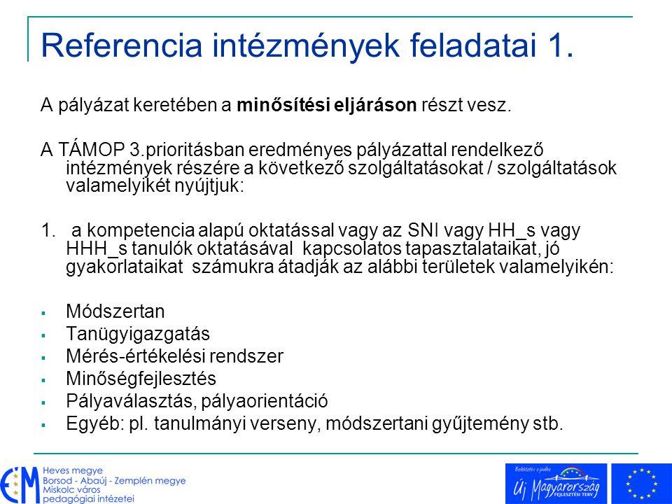 Referencia intézmények feladatai 2.3. bemutató tanítások megtartása, szervezése 4.