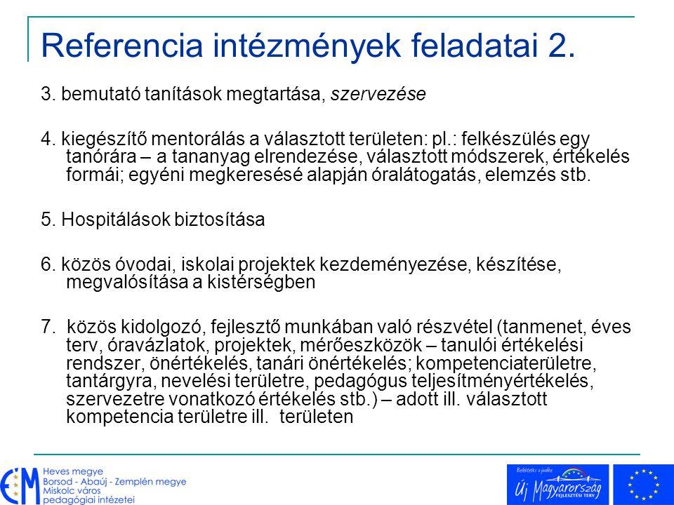 Referencia intézmények feladatai 2. 3. bemutató tanítások megtartása, szervezése 4. kiegészítő mentorálás a választott területen: pl.: felkészülés egy