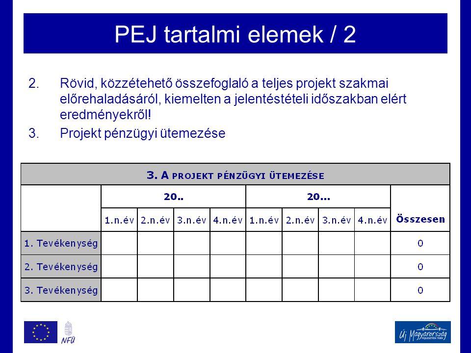 PEJ tartalmi elemek / 2 2.Rövid, közzétehető összefoglaló a teljes projekt szakmai előrehaladásáról, kiemelten a jelentéstételi időszakban elért eredm