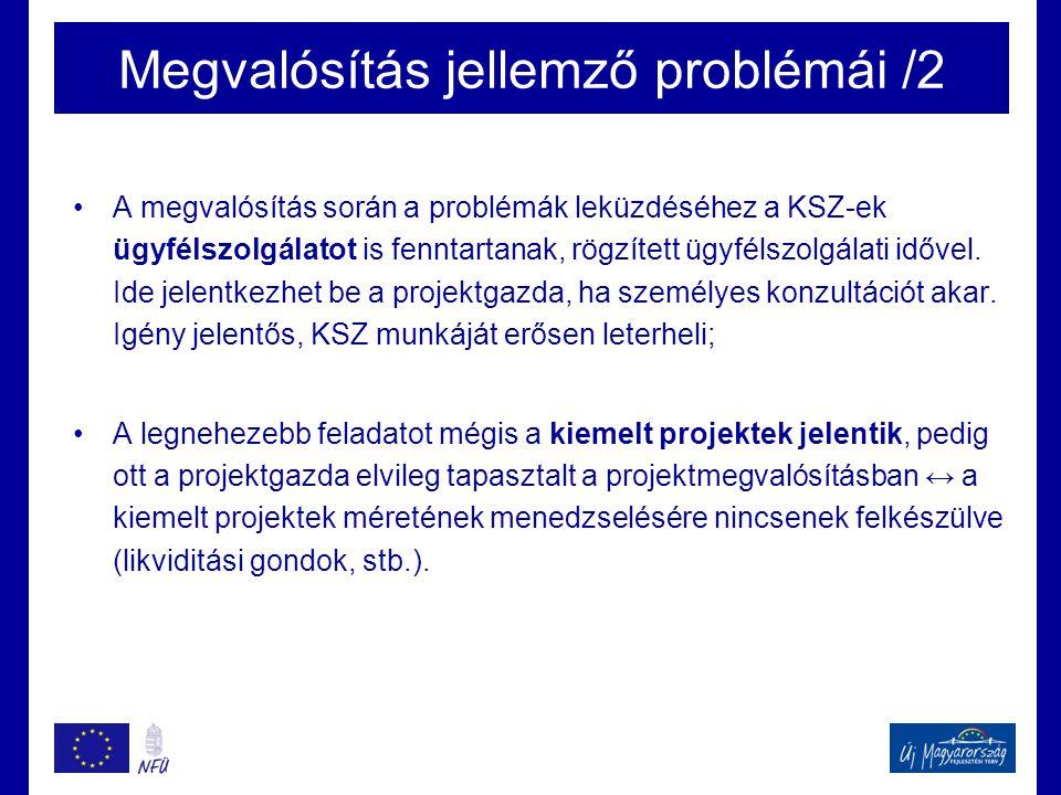 Megvalósítás jellemző problémái /2 •A megvalósítás során a problémák leküzdéséhez a KSZ-ek ügyfélszolgálatot is fenntartanak, rögzített ügyfélszolgála