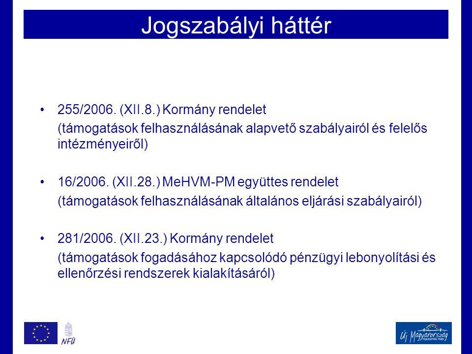 Jogszabályi háttér •255/2006. (XII.8.) Kormány rendelet (támogatások felhasználásának alapvető szabályairól és felelős intézményeiről) •16/2006. (XII.