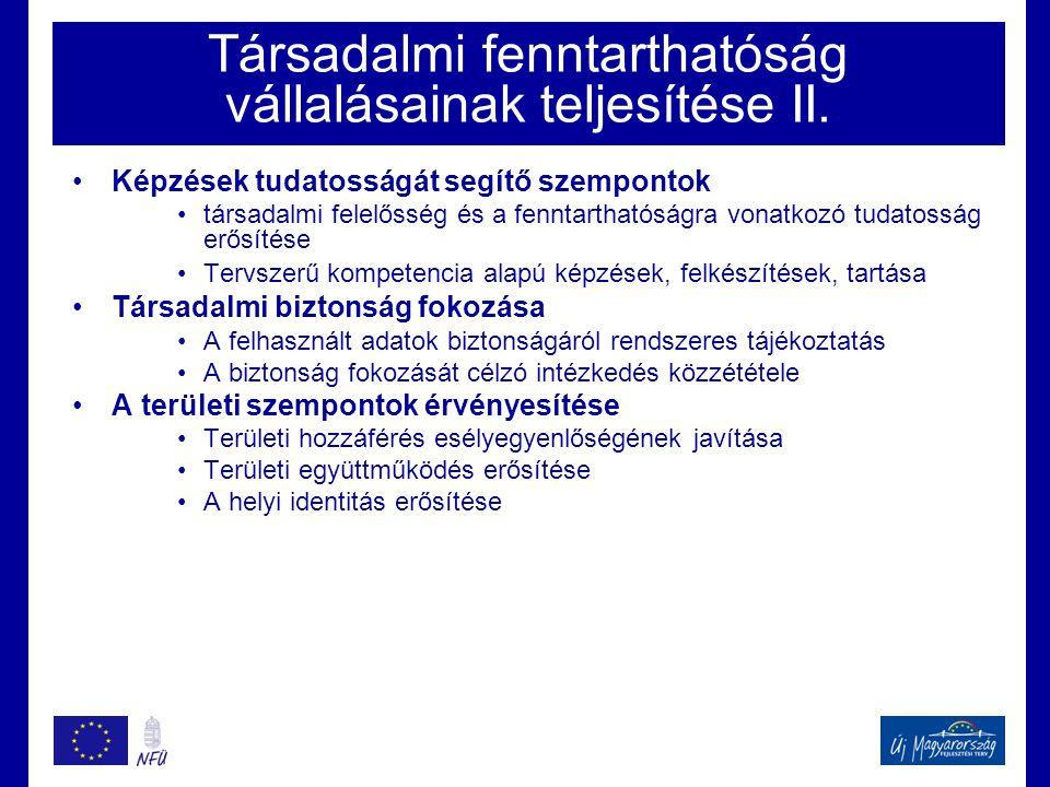 Társadalmi fenntarthatóság vállalásainak teljesítése II. •Képzések tudatosságát segítő szempontok •társadalmi felelősség és a fenntarthatóságra vonatk
