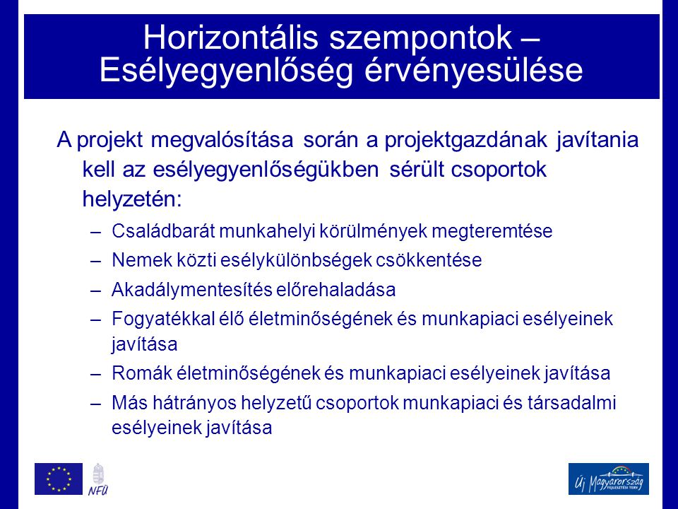Horizontális szempontok – Esélyegyenlőség érvényesülése A projekt megvalósítása során a projektgazdának javítania kell az esélyegyenlőségükben sérült