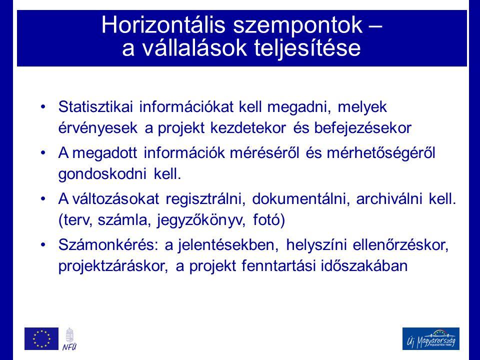 Horizontális szempontok – a vállalások teljesítése •Statisztikai információkat kell megadni, melyek érvényesek a projekt kezdetekor és befejezésekor •