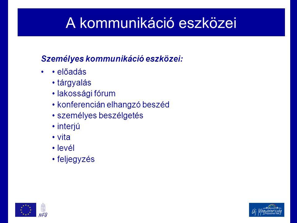 A kommunikáció eszközei Személyes kommunikáció eszközei: •• előadás • tárgyalás • lakossági fórum • konferencián elhangzó beszéd • személyes beszélget