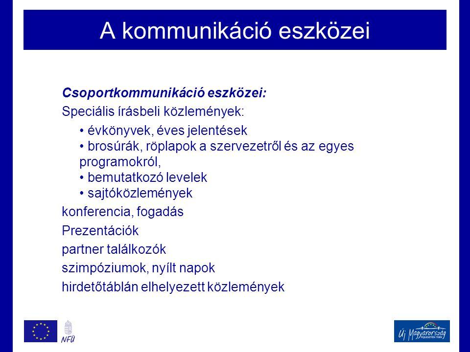 A kommunikáció eszközei Csoportkommunikáció eszközei: Speciális írásbeli közlemények: • évkönyvek, éves jelentések • brosúrák, röplapok a szervezetről
