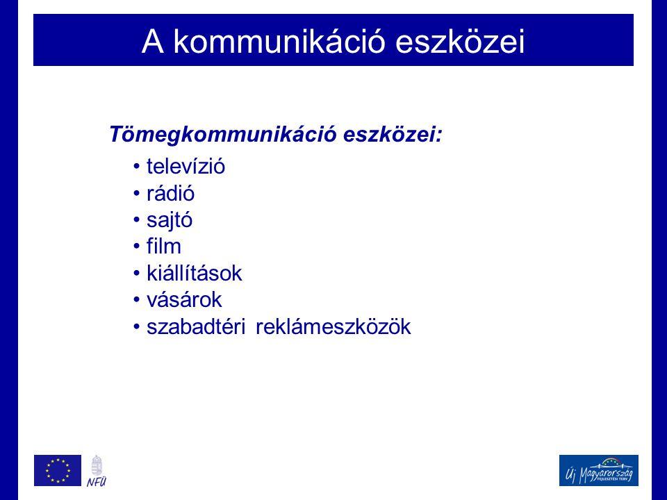 A kommunikáció eszközei Tömegkommunikáció eszközei: • televízió • rádió • sajtó • film • kiállítások • vásárok • szabadtéri reklámeszközök