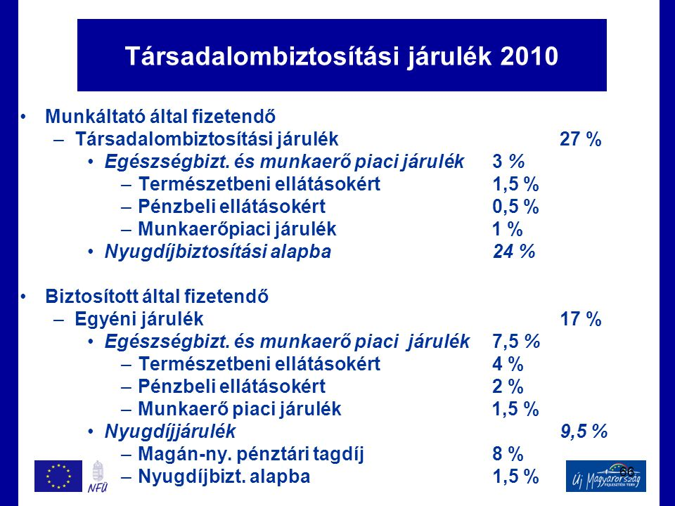 66 Társadalombiztosítási járulék 2010 •Munkáltató által fizetendő –Társadalombiztosítási járulék27 % •Egészségbizt. és munkaerő piaci járulék3 % –Term