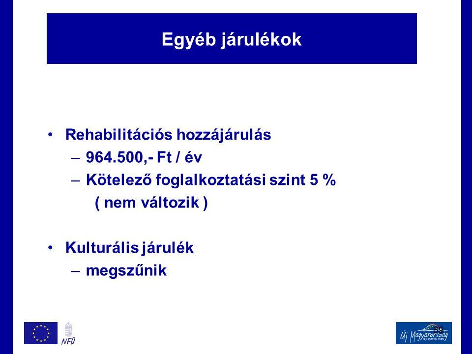 69 Egyéb járulékok •Rehabilitációs hozzájárulás –964.500,- Ft / év –Kötelező foglalkoztatási szint 5 % ( nem változik ) •Kulturális járulék –megszűnik
