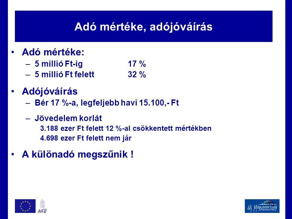 75 Adó mértéke, adójóváírás •Adó mértéke: –5 millió Ft-ig17 % –5 millió Ft felett32 % •Adójóváírás –Bér 17 %-a, legfeljebb havi 15.100,- Ft –Jövedelem