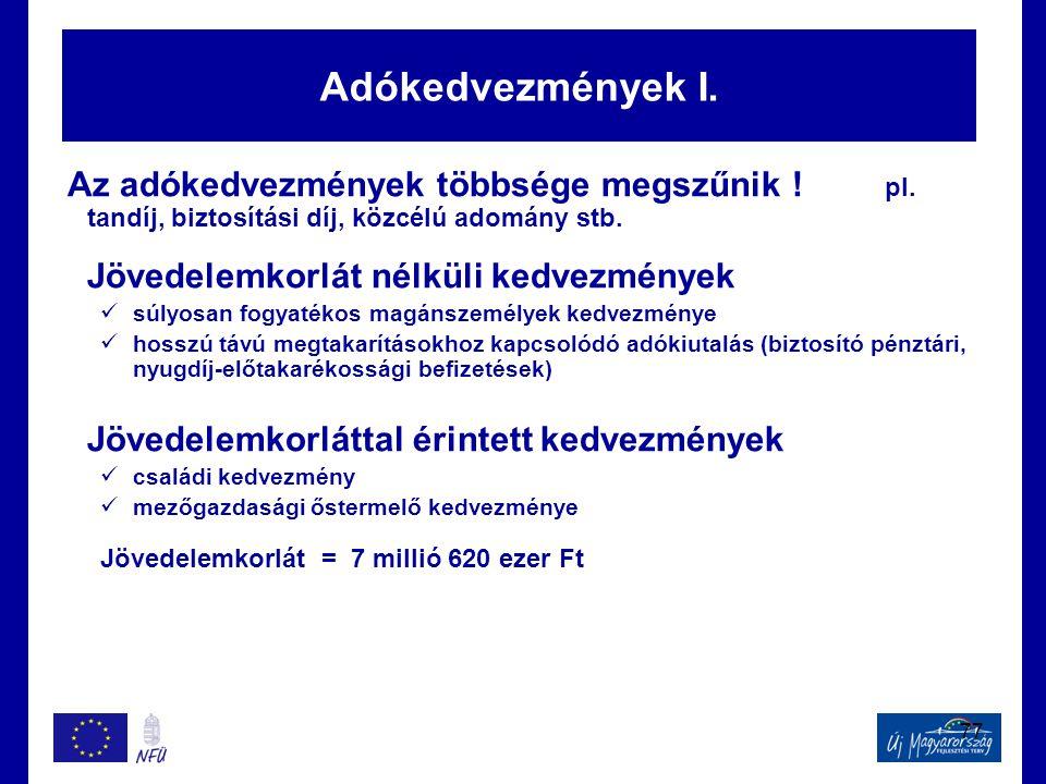 77 Adókedvezmények I. Az adókedvezmények többsége megszűnik ! pl. tandíj, biztosítási díj, közcélú adomány stb. Jövedelemkorlát nélküli kedvezmények 