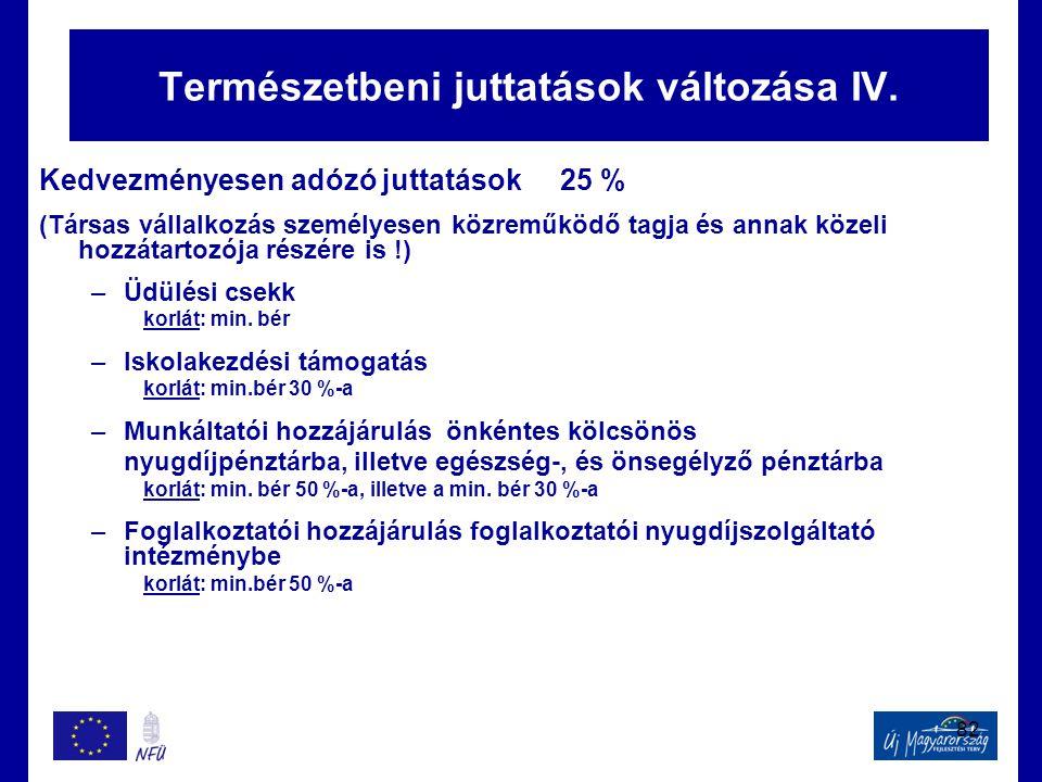 82 Természetbeni juttatások változása IV. Kedvezményesen adózó juttatások 25 % (Társas vállalkozás személyesen közreműködő tagja és annak közeli hozzá