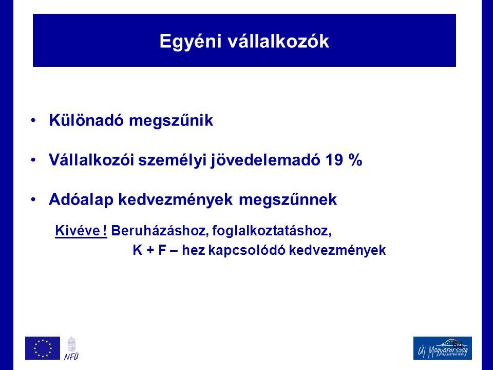 84 Egyéni vállalkozók •Különadó megszűnik •Vállalkozói személyi jövedelemadó 19 % •Adóalap kedvezmények megszűnnek Kivéve ! Beruházáshoz, foglalkoztat
