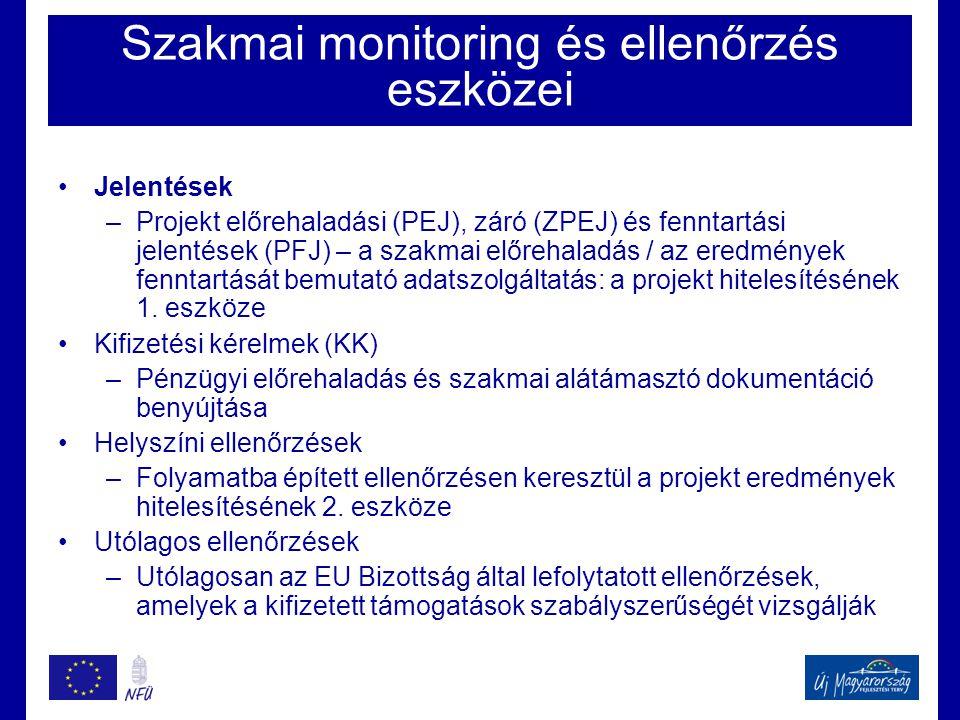 Szakmai monitoring és ellenőrzés eszközei •Jelentések –Projekt előrehaladási (PEJ), záró (ZPEJ) és fenntartási jelentések (PFJ) – a szakmai előrehalad